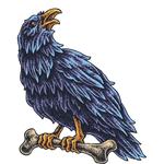 """Переводная татуировка """"Ворон с костью"""""""