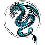 """Переводная татуировка """"Синий дракон в круге"""""""