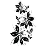 """Переводная татуировка """"Черные цветы"""""""