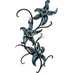 """Переводная татуировка """"Три синих лилии"""""""