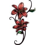 """Переводная татуировка """"Две красные лилии"""""""