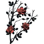 """Переводная татуировка """"Черный куст с розами"""""""