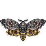 """Переводная татуировка """"Бабочка с черепом и глазами"""""""
