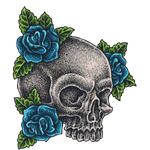 """Переводная татуировка """"Череп с синими розами"""""""