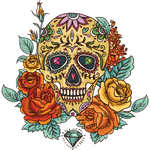 """Переводная татуировка """"Череп с розами и рубинами"""""""