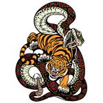 """Переводная татуировка """"Змея и тигр"""""""