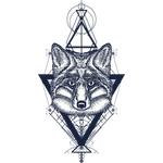 """Переводная татуировка """"Лиса с треугольниками"""""""