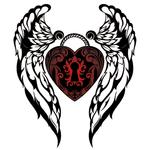 """Переводная татуировка """"Крылья с красным сердцем"""""""