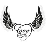 """Переводная татуировка """"Крылья с надписью """"Love"""""""