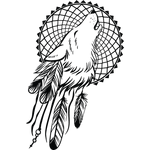 """Переводная татуировка """"Волк и ловец снов"""""""