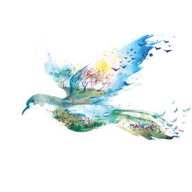 """Переводная татуировка """"Синяя птица"""""""