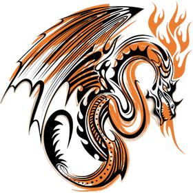 """Переводная татуировка """"Оранжевый дракон"""""""