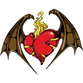 """Переводная татуировка """"Сердце с крыльями летучей мыши"""""""