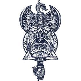 """Переводная татуировка """"Кельтский топор с лисой"""""""