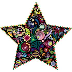 """Переводная татуировка """"Разноцветная звезда"""""""